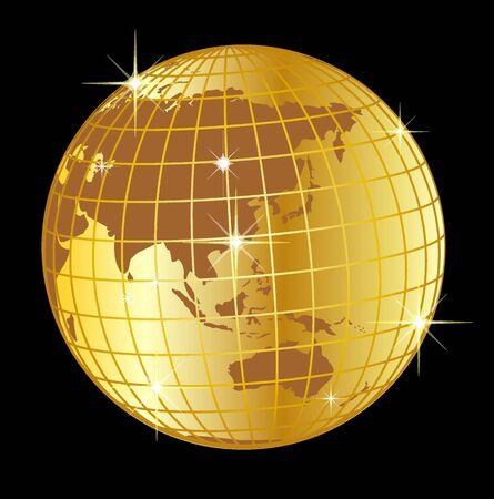 illustration of a golden globe asia and australia on black background illustration
