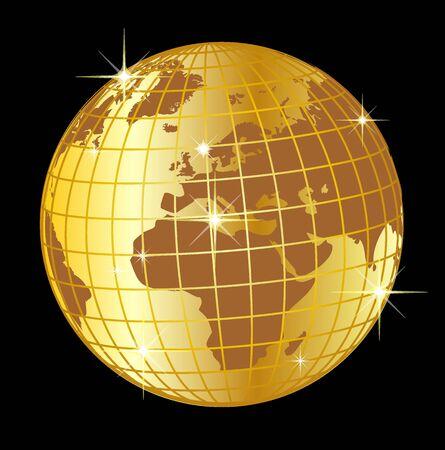 Ilustración de un dorado globo Europa y África sobre fondo negro  Foto de archivo