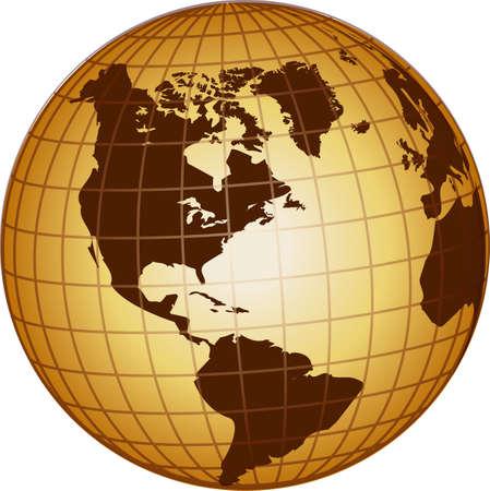 Ilustración de un globo north ans sur america
