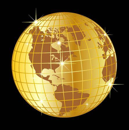 Ilustración de un globo de oro de Norte y Suramérica sobre fondo negro  Foto de archivo