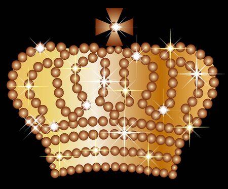 Illustration of a golden crown on black background Stock Illustration - 5207130