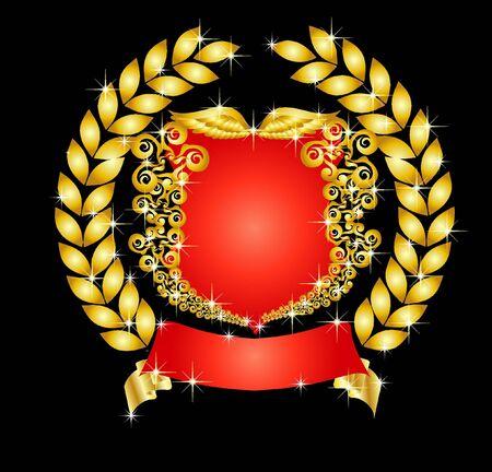 illustration of a heraldic shield with laurel wreath illustration
