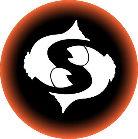 a illustration of a zodiac button pisces illustration