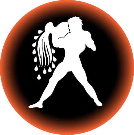 a illustration of a zodiac button aquarius illustration