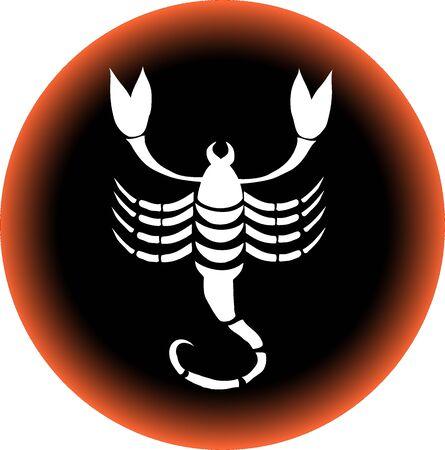 a illustration of a zodiac button scorpio illustration