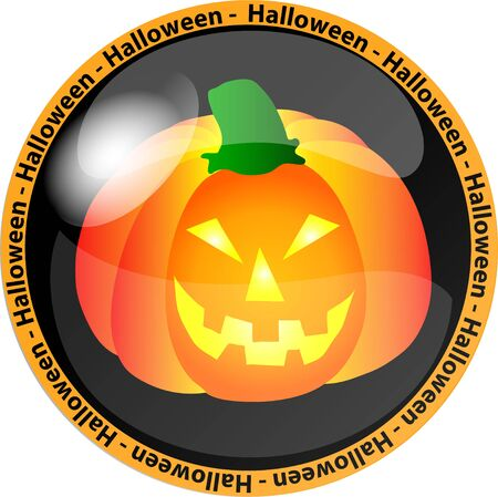 illustration of a halloween button with a pumpkin illustration