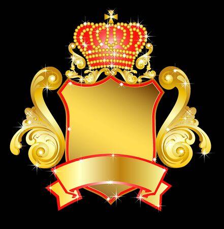 ilustración de un escudo heráldico con corona de Foto de archivo