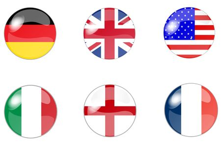 kindom: illustration of a a set of buttons with flag