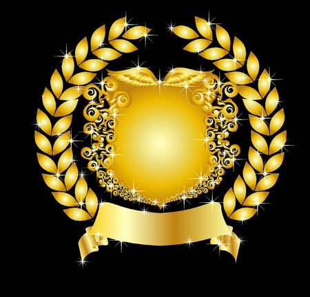 illustration of a golden heraldic shield with laurel wreath illustration