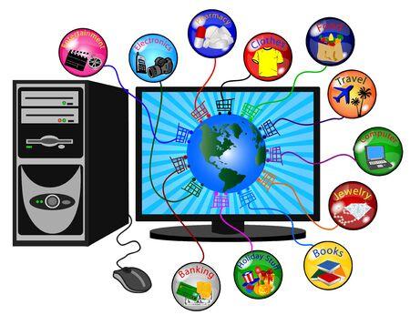 illustration of a e-commerce background illustration