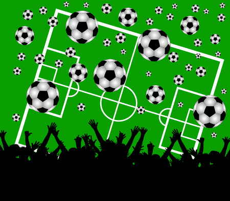 illustration of a soccer field and fans on green background Stock Illustratie