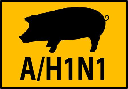 illustration of a H1N1 Swine Flu Hazard Warning Sign Vector