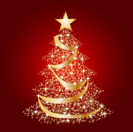 estrellas de navidad: una ilustración de un árbol, estrella de Navidad Foto de archivo