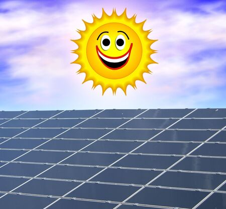 a illustration of a solar panel against a smiling sun illustration