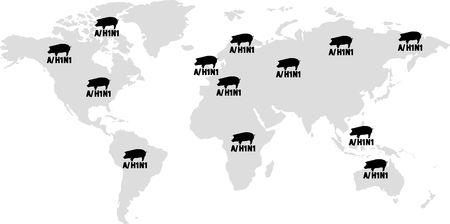 illustration of a H1N1 Swine Flu Hazard worldwide Warning Stock Illustration - 5390019