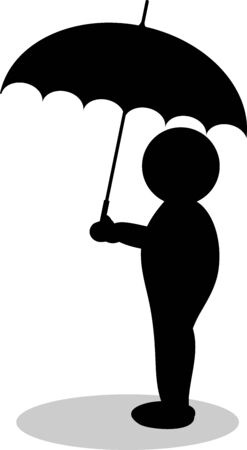 a illustration of a silhouette with umbrella illustration