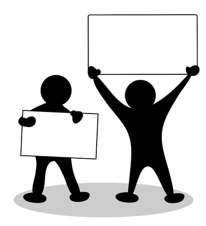 illustration of people with a blank placard - place for your text illustration