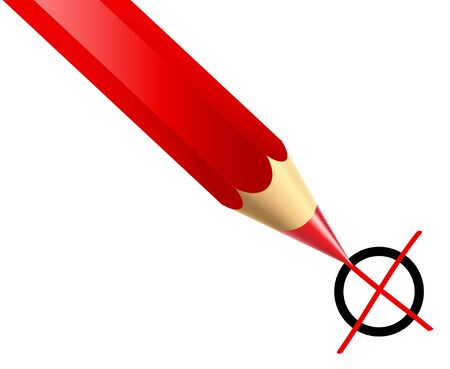 a Illustration of a red pencil marking x  illustration