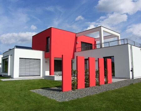 new beautiful european bungalow - red and white - luxhaus photo