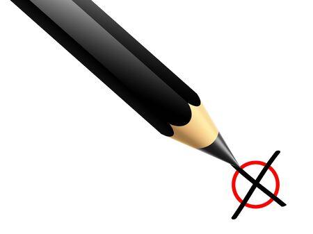 a Illustration of a pencil marking x illustration