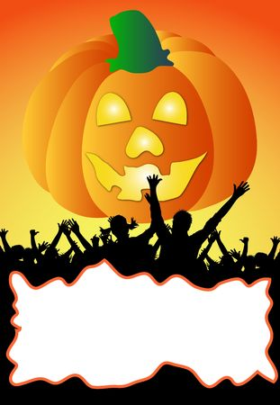 your text here: a illustration of a halloween party placard - your text here Stock Photo