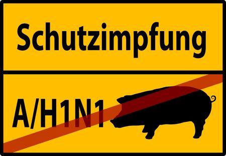 illustration of a H1N1 Swine Flu Hazard Warning Sign Stock Illustration - 5535729