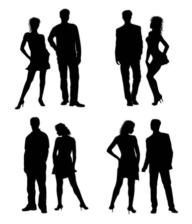 optional: Young adults couple silhouettes black white