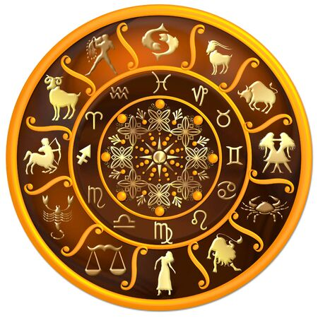 zodiac illustration: Zodiac Disc with Signs and Symbols