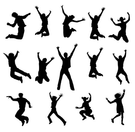 teeny: a illustration of black jumping people silhouettes Stock Photo