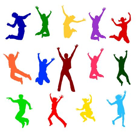teeny: a illustration of colorful jumping people Stock Photo