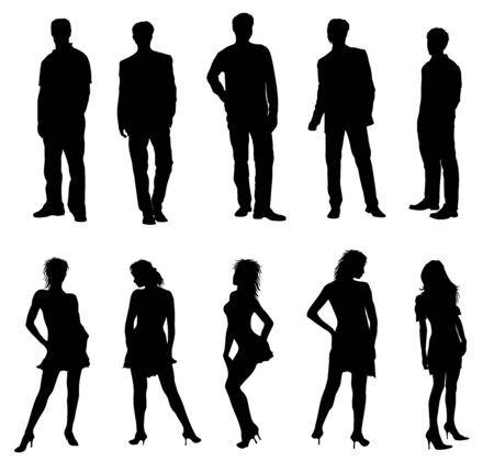 optional: Young adults silhouettes black white