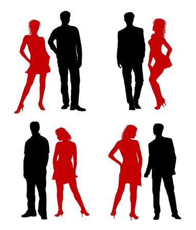 optional: Young adults couple silhouettes black red