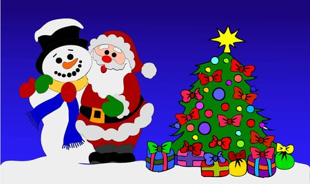 Santa Clause and Snowman with Christmas Tree photo