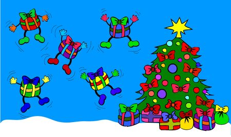 tannenbaum: Jumping giftboxes with christmas tree