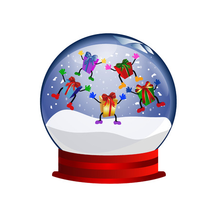 diviner: snowglobe with jumping giftboxes Illustration