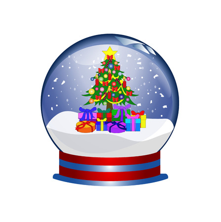 christal: snowglobe with christmas tree and presents