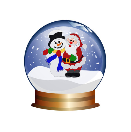 christal: snowglobe with santa claus and snowman Illustration