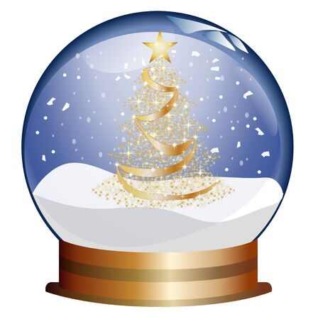 diviner: snowglobe with golden christmas tree Stock Photo