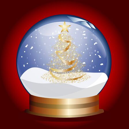 snowglobe with golden christmas tree photo