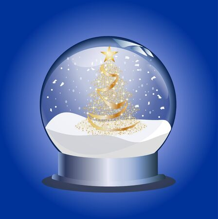 christal: snowglobe with golden christmas tree Stock Photo