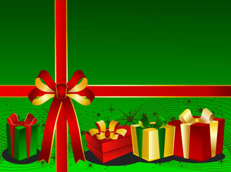 backgraound: Green Christmas Backgraound with presents