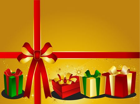 backgraound: Golden Christmas Backgraound with presents Stock Photo