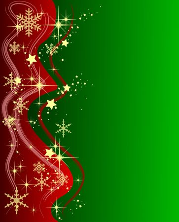 Illustration of a green Christmas Background with Stars