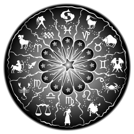 illustration of a zodiac disc illustration