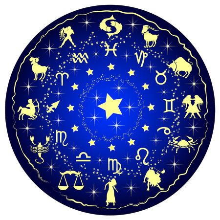 Constellations: illustration of a zodiac disc
