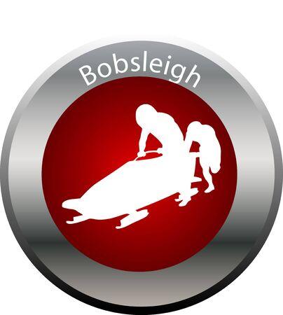 bobsleigh: winter game button Bobsleigh Stock Photo