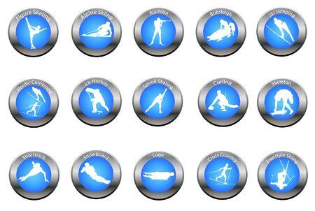 luge: insieme vettoriale di pulsanti di sport invernali
