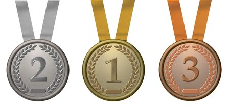 silver medal: illustration of a gold, silver and bronze medal Stock Photo
