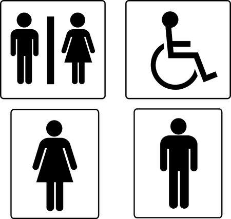 restroom sign: set of restroom symbols