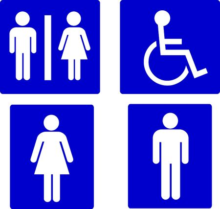 restroom sign: set of restroom symbols